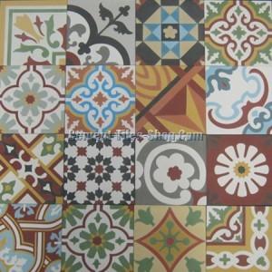 Mẫu gạch bông tổng hợp – Patchwork tông đỏ nâu
