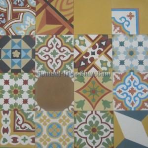 Mẫu gạch bông tổng hợp – Patchwork tông màu vàng
