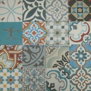 Mẫu gạch bông tổng hợp - Patchwork tông màu xanh dương