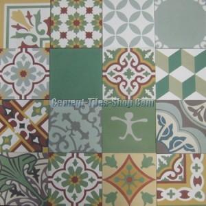 Mẫu gạch bông tổng hợp - Patchwork tông màu xanh lá